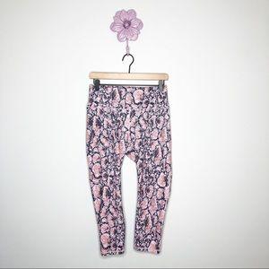 Fabletics Grey / Pink Print Powerhold Crop Legging